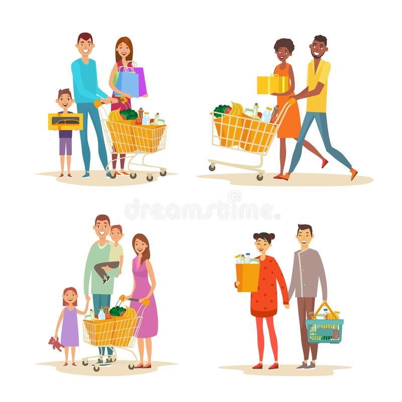 Set of family shopping. Characters with purchases royalty free illustration