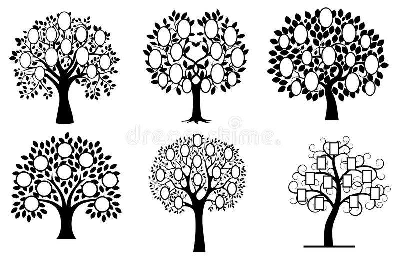 Set of family trees. Collection of black and white family tree silhouettes. Vector illustration of photo frames in the vector illustration