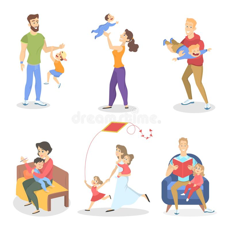 Set of family with various situations ilustration stock illustration