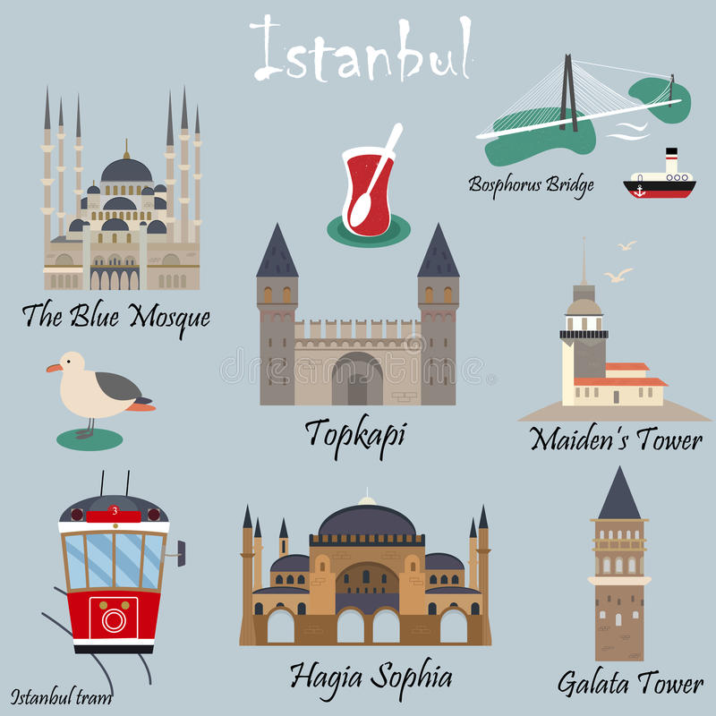 Set of famous destinations of Istanbul vector illustration