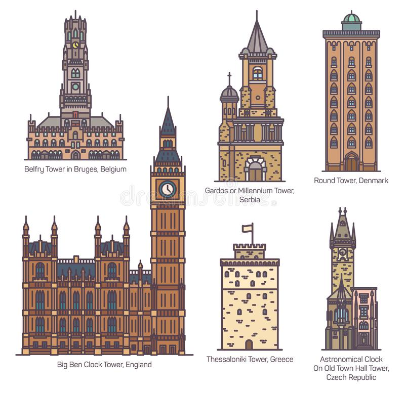 Set of famous European castle and towers. Set of isolated castle with landmark towers. England Big Ben clock and Serbia Gardos, astronomical clock in Czech town stock illustration