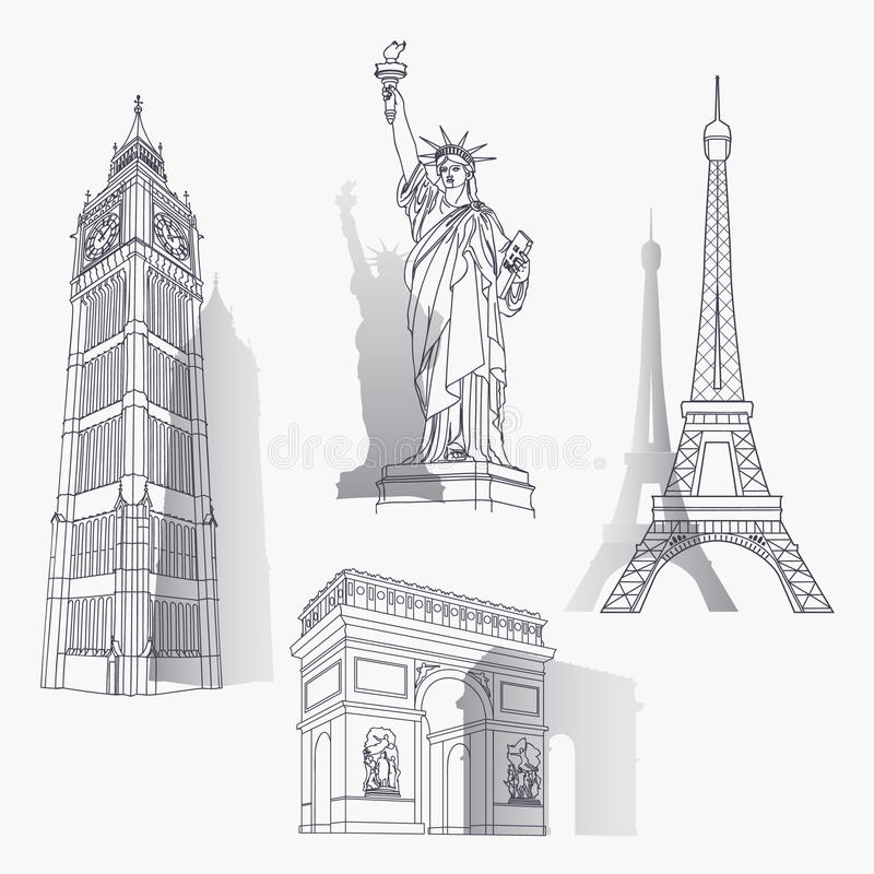 Set Of Famous Landmarks Stock Photos