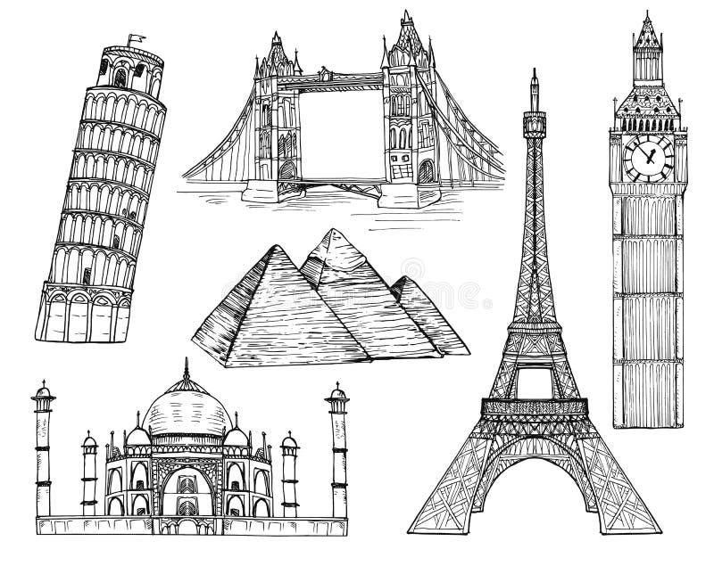 Landmarks vector set stock illustration