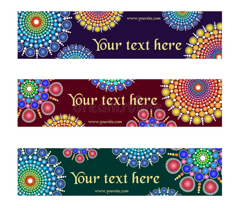 A set fancy designs with circular multicolored dotted ornament graphic elements for banner, header, website, print. stock illustration