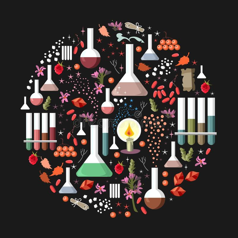 Set of fantasy alchemy elements on black background. Round card. Vector illustration stock illustration