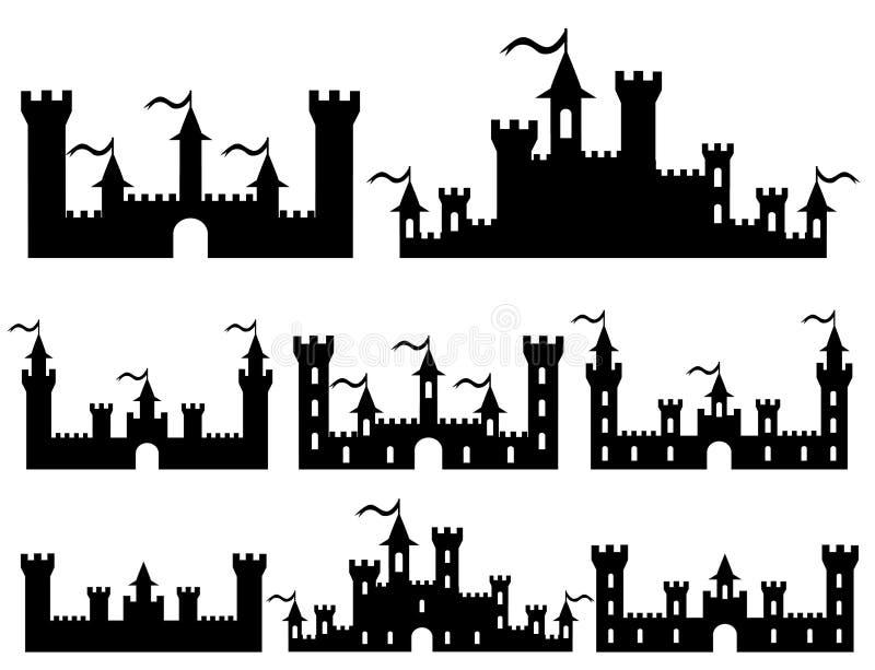 Set of Fantasy castles silhouettes for design. Vector. Illustration stock illustration