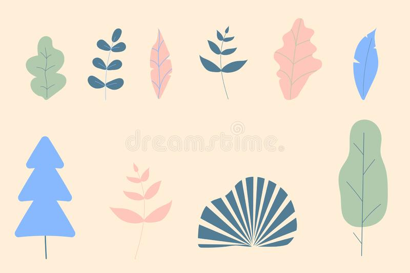 Set of fantasy color leaves and trees for decoration office,concept and other modern fashion images.Vector illustration flat stock illustration
