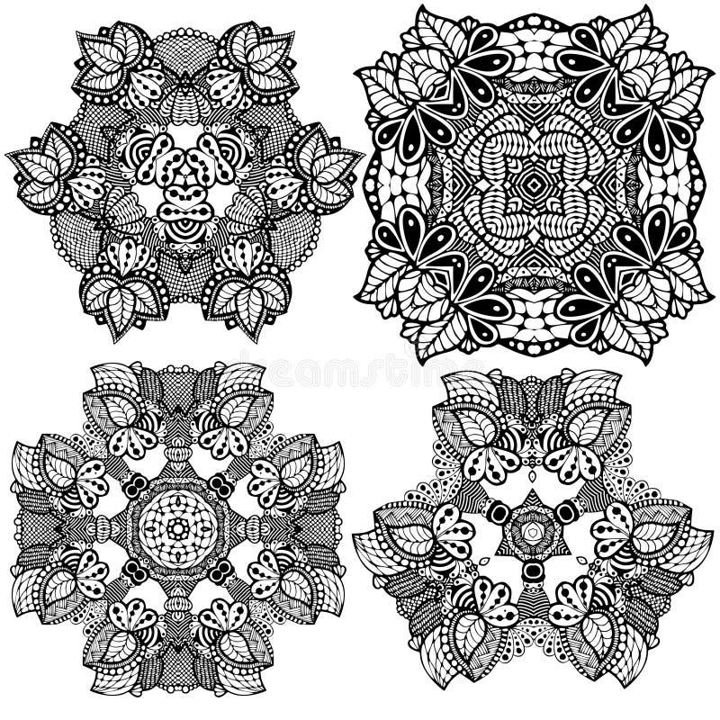 Set Fantasy lace com ornamento de folha de flores de aranha - preto e branco - ilustração desenhada à mão ilustração do vetor