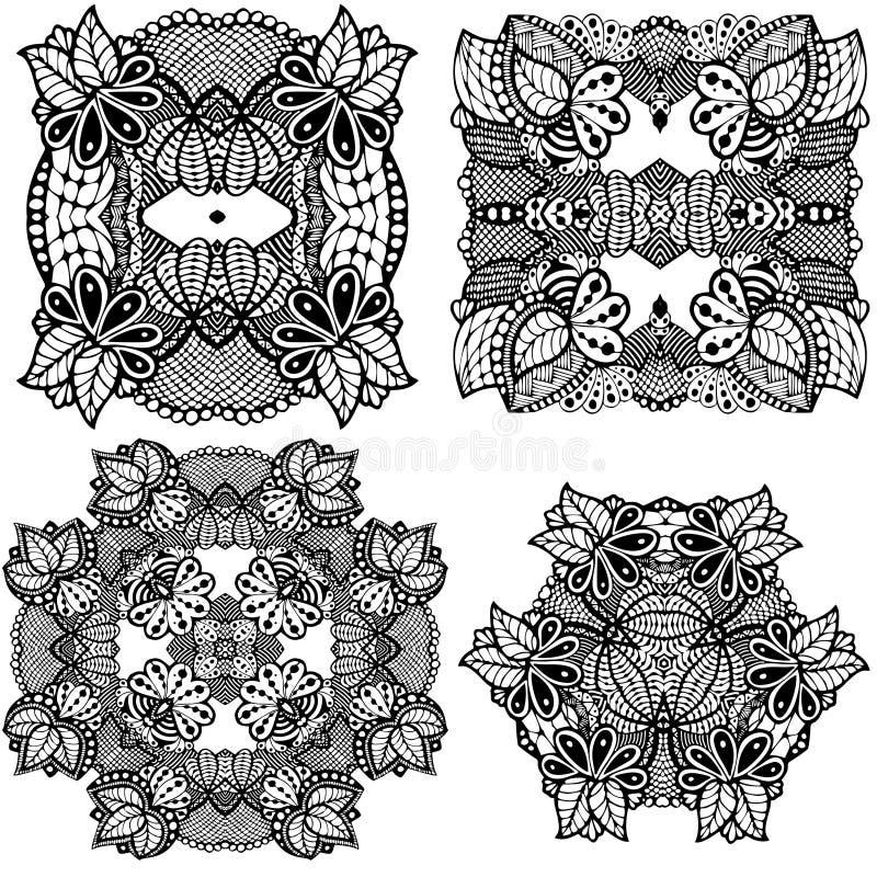 Set Fantasy lace com ornamento de folha de flores de aranha - preto e branco - ilustração desenhada à mão ilustração stock