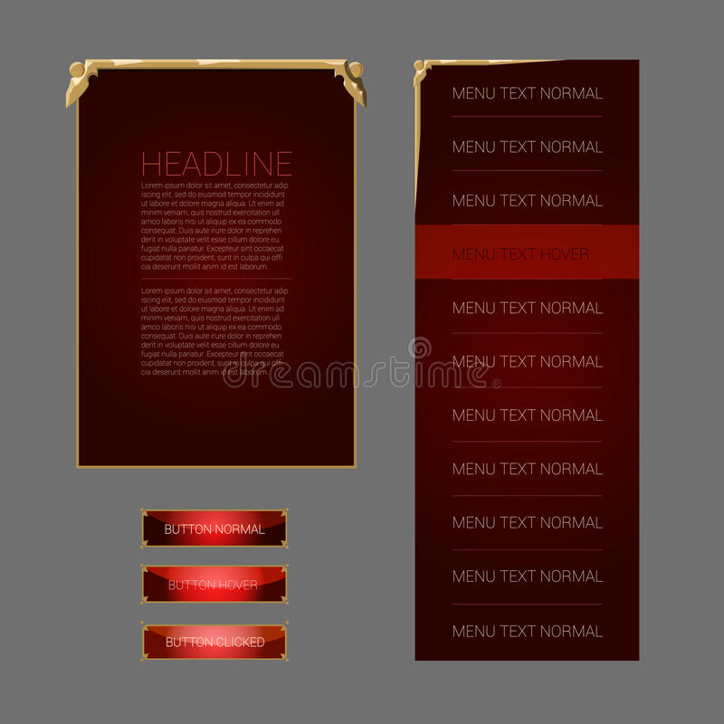 Set of fantasy vector interface elements. Buttons, popup windows and menus royalty free illustration