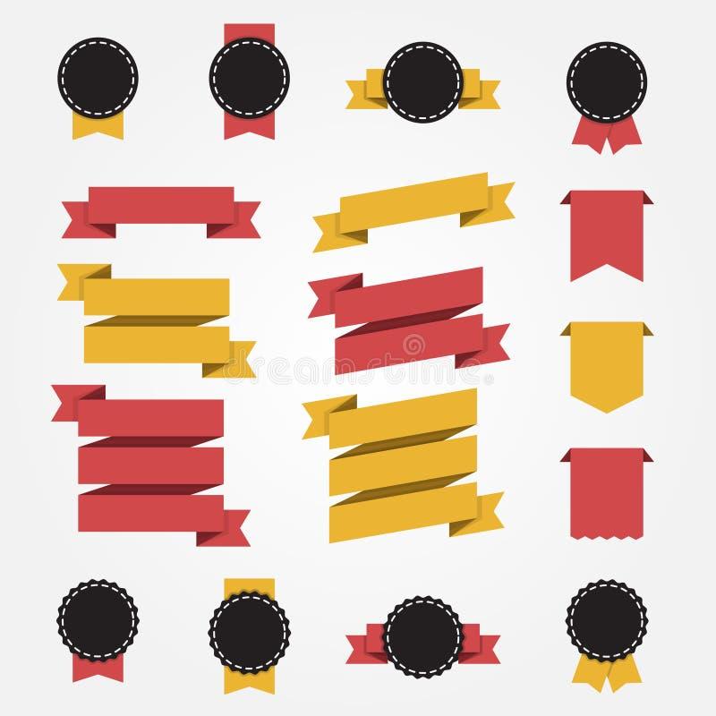 Set Farbbänder und Kennsätze Flache Art stock abbildung