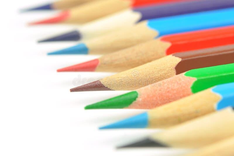 Set Farbenbleistifte Makro lizenzfreie stockbilder