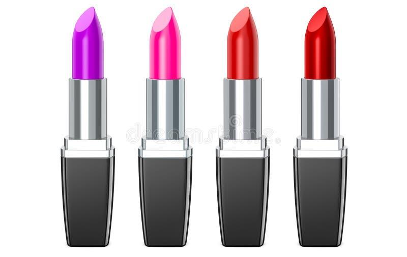 Set Farbenlippenstifte Roter Lippenstift, rosa Lippenstift, Weinlippenstift Roter Lippenstift stellte auf weißen Hintergrund, 3D  vektor abbildung