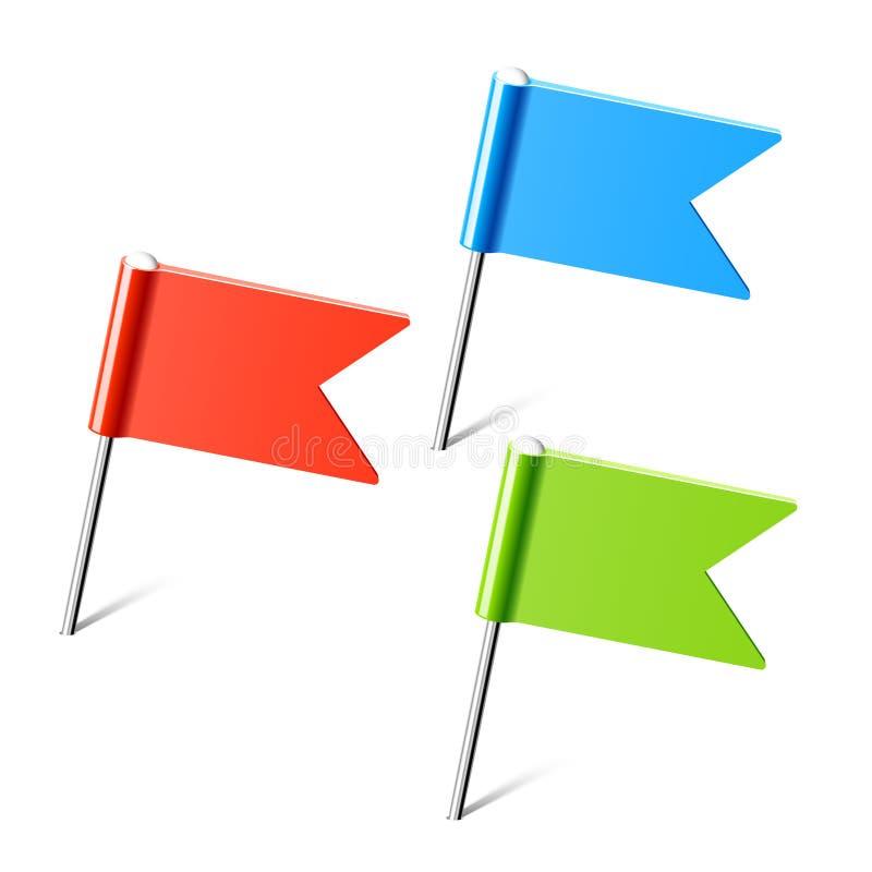 Set Farbenmarkierungsfahnenstifte stock abbildung