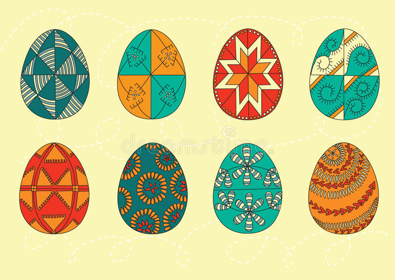 Set FarbenOstereier Goldenes Ei über grünem Steigungshintergrund Auch im corel abgehobenen Betrag Flache Art der Osterei-Ikonen O stock abbildung