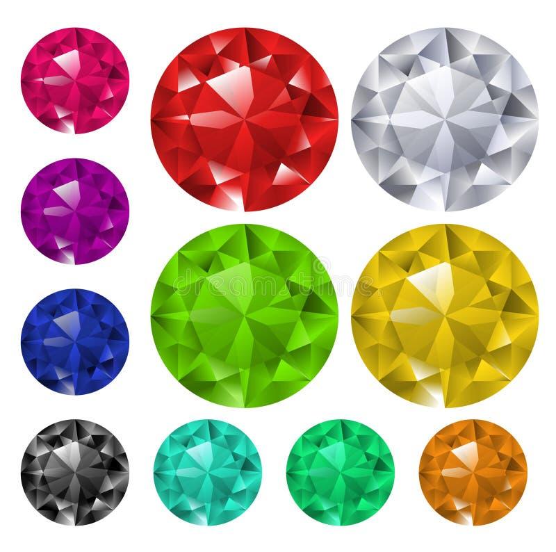 Set farbige Edelsteine lizenzfreie abbildung