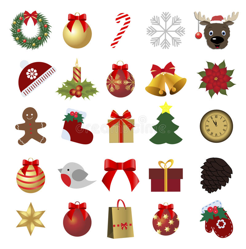 Set farbige Weihnachtsikonen Sammlung Feiertagsaufkleber stock abbildung