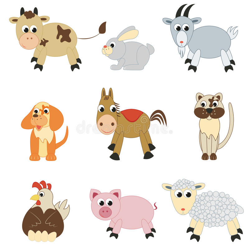 Set of farm animals. On white background royalty free illustration