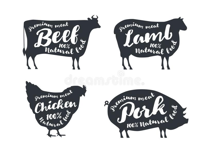 Set of farm animals with sample text. Silhouettes hand drawn animals: cow, sheep, pig, chicken. royalty free illustration