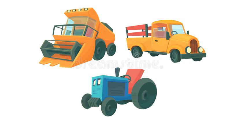 Set of farm cartoon machine. Combine harvester, orange retro truck and farming tractor. Vector illustration isolated on white royalty free illustration