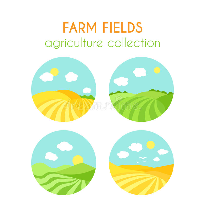 Set of farm fields landscapes. Round badges with crop in field. Cartoon green field of sowing. Flat argiculture stock illustration