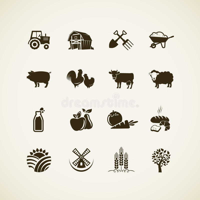 Set of farm icons. Farm animals, food and drink production, organic product, machinery and tools on the farm royalty free illustration