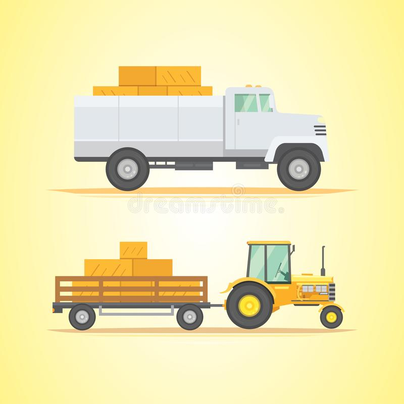 Set farm machinery. agricultural industrial equipment and farm machines. stock illustration