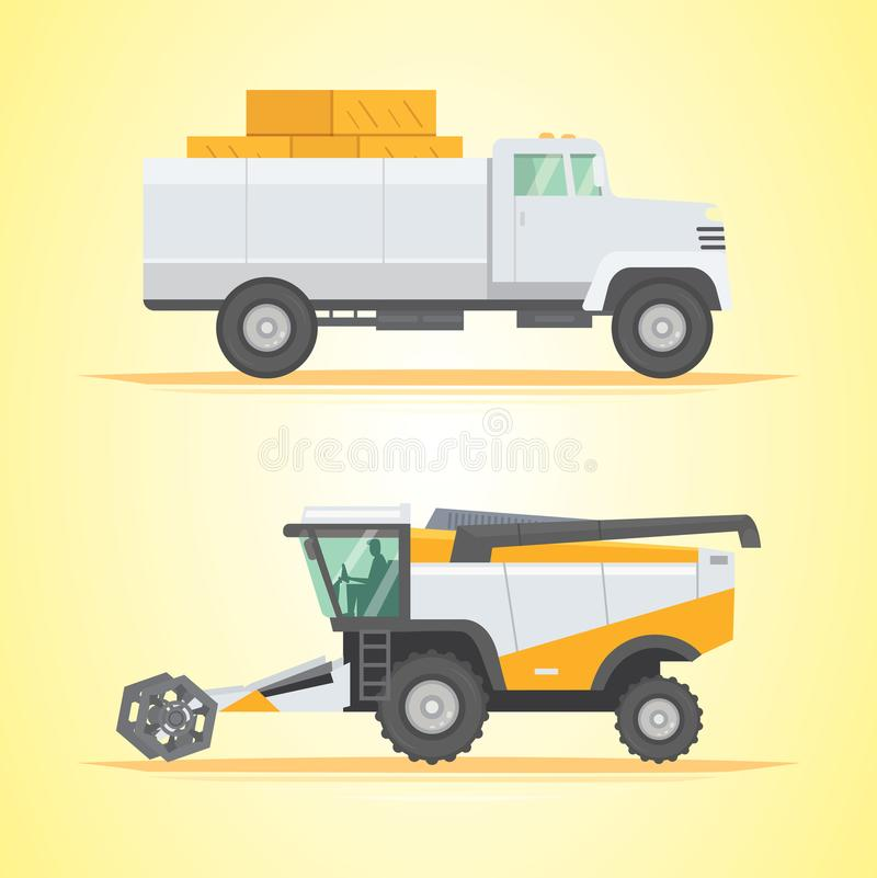 Set farm machinery. agricultural industrial equipment vehicle and farm machine. stock illustration