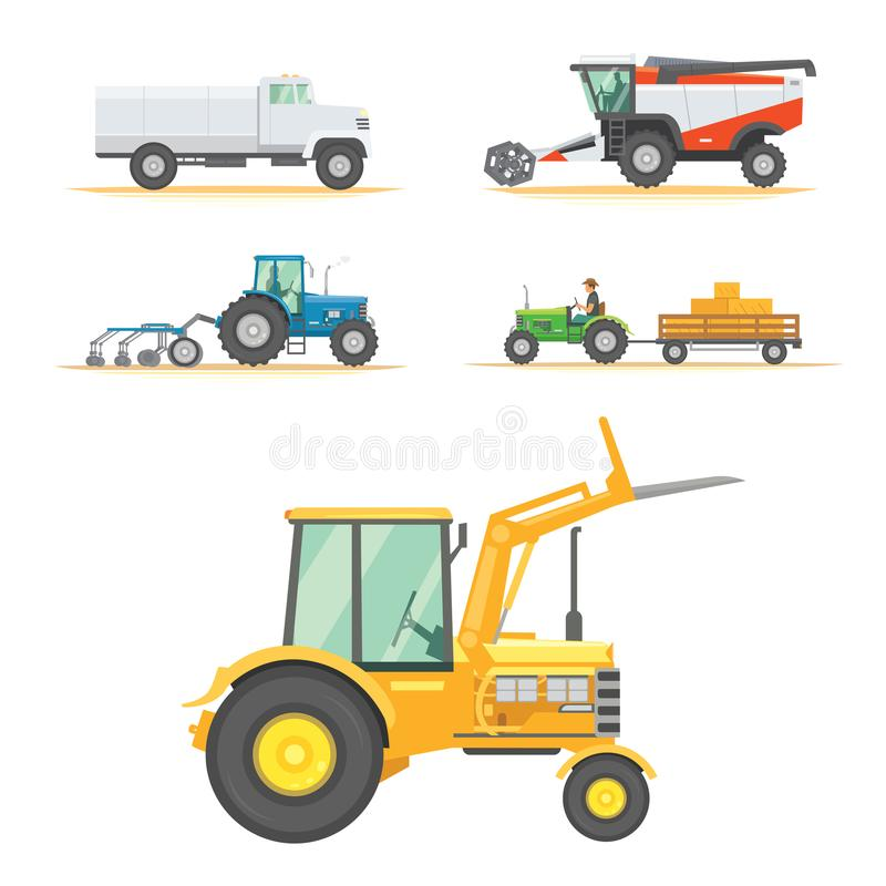 Set farm machinery. agricultural industrial equipment vehicles and farm machines. Tractors, harvesters, combines. royalty free illustration