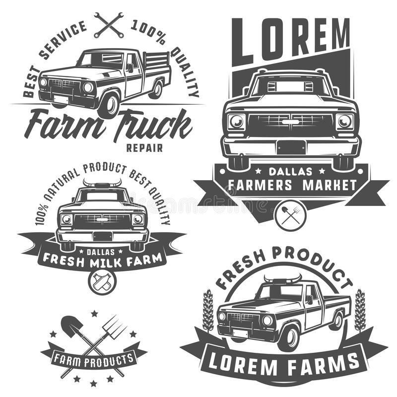 Set Of Farm Truck For Logo,emblems And Design. Stock