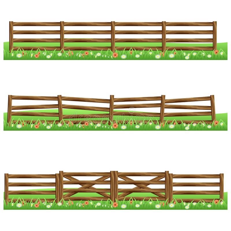 Set of farm wooden fences isolated on white background. With grass and flowers.Fits as scene elements for cartoon or game asset. Vector illustration vector illustration