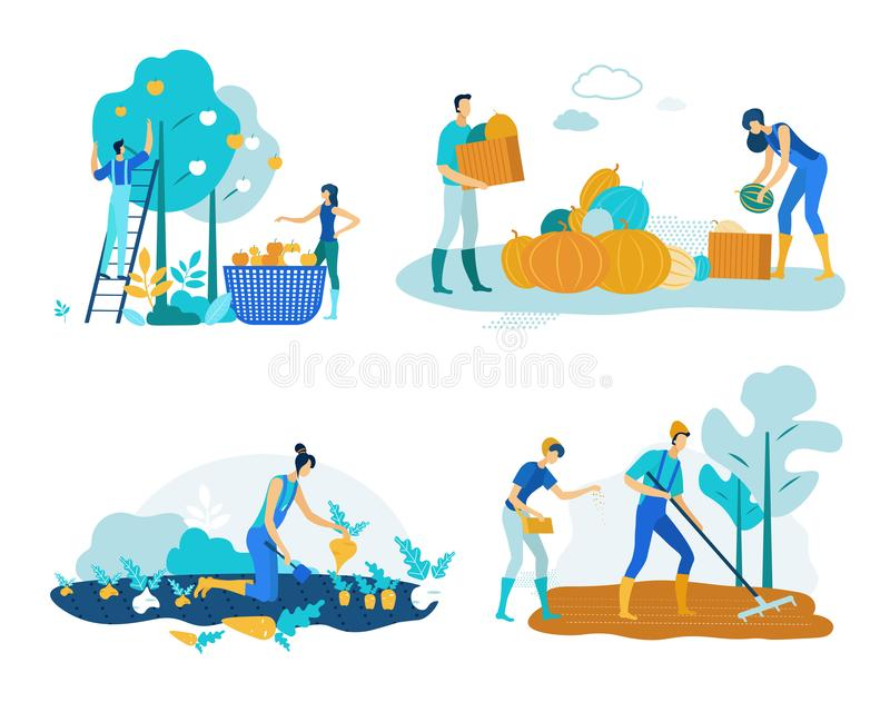 Set Farm Work Harvesting Vector Illustration. vector illustration