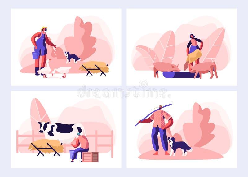 Set of Farmer Everyday Routine. People Doing Farming Job. Feeding Animals, Milking Cow, Shearing Sheep, Raking Hay vector illustration