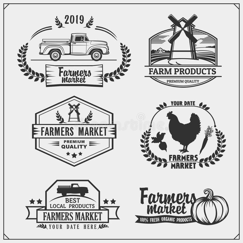 Set of farmers market emblems, logos and labels. Vector illustration. Black and white vector illustration