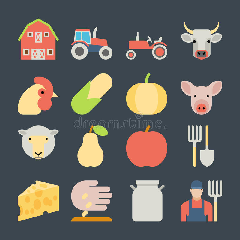 Set of farming harvesting and agriculture flat. Set of farming harvesting and agriculture decorative icons set of animals plants tools isolated flat style icons stock illustration