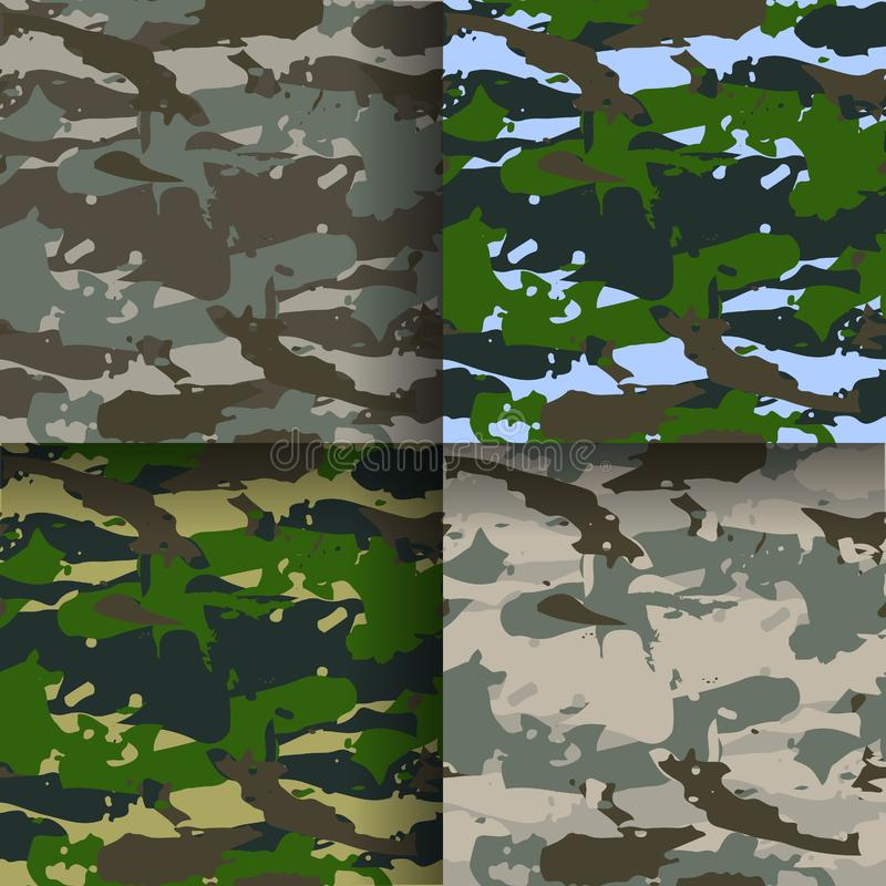 Set of 4 fashion camouflage patterns. Vector illustration. Can be used for textile or print design. royalty free illustration