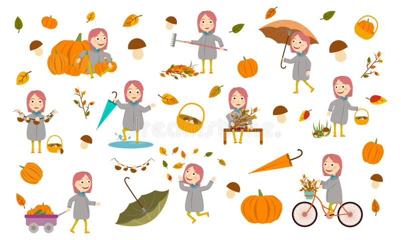 Set fashion girl with pink hair girl in an autumn jacket plays with leaves, launches a paper boat, rides a bicycle, carries pumpki stock illustration