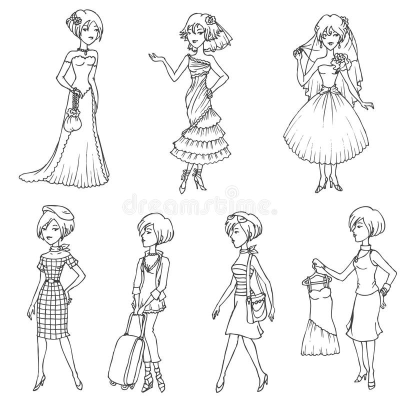 Download Set of Fashion Girls stock vector. Image of clothes, trendy - 33185945