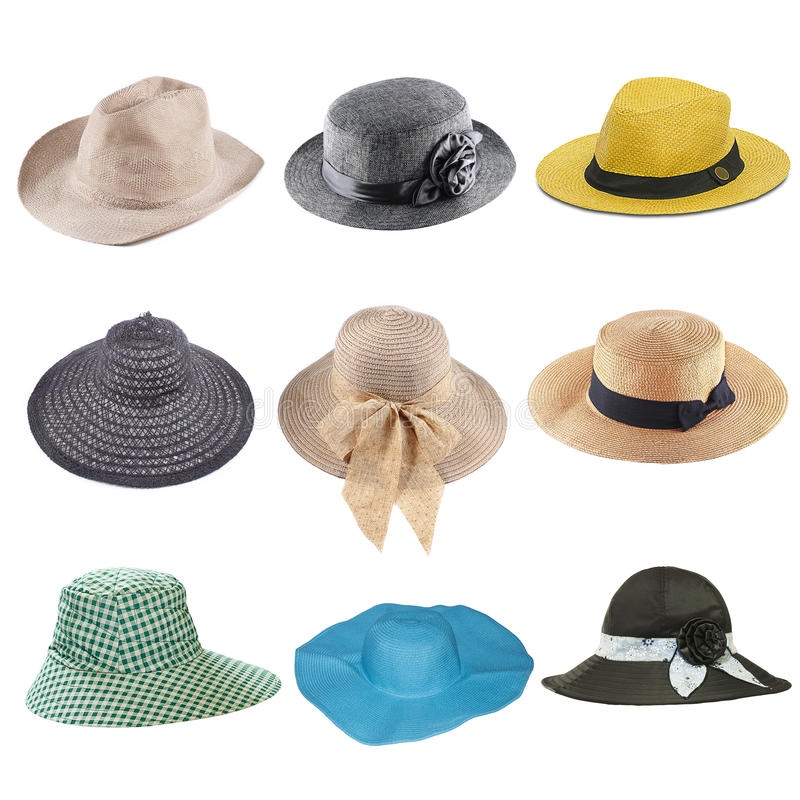 set of fashion hats isolated on white royalty free stock photography