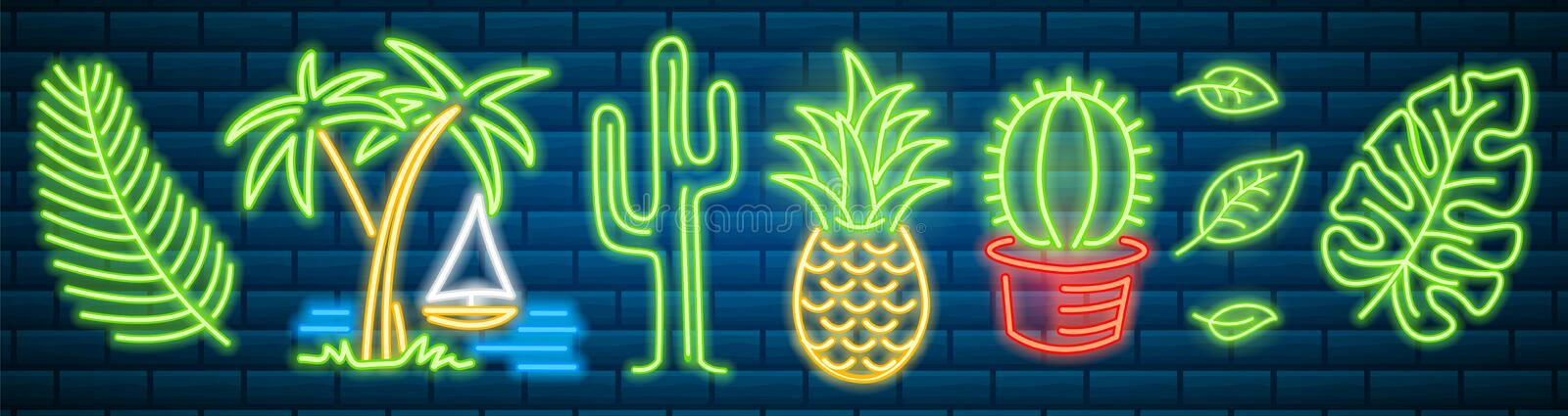 Set of fashion neon sign. Cactus and pineapple, tropical plants, palm trees and leaves. Night bright signboard, Glowing vector illustration