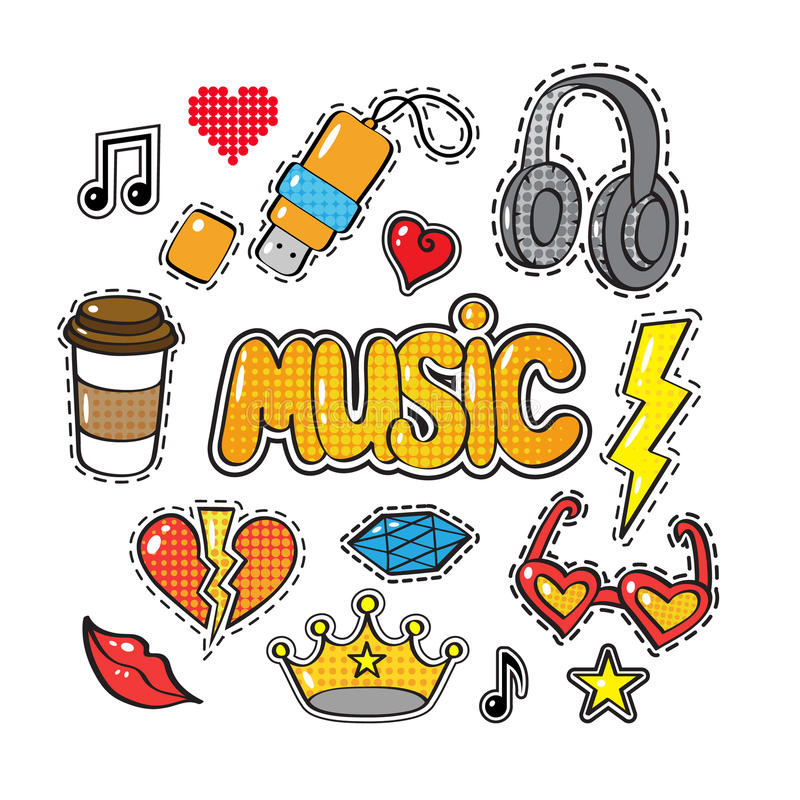 Set of fashion patch badges, stickers in comic style. Crown, headphones, coffee, heart, word Music, lips, cloud, star, note, gem on white background. Art vector stock illustration