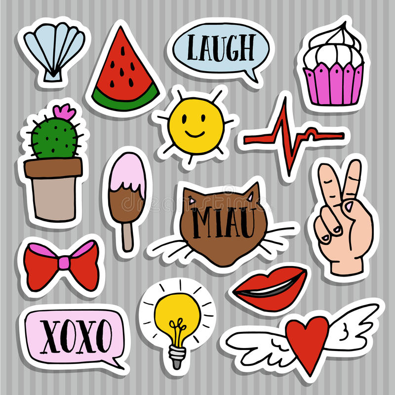 Download set of fashion patches badges pins stickers cool trendy hand drawn
