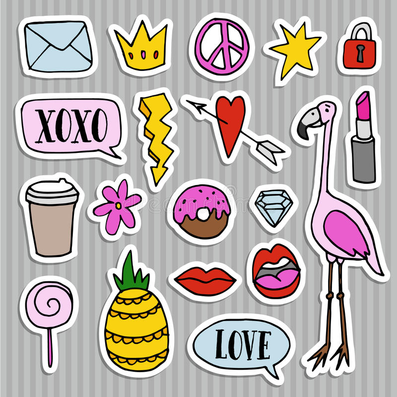 Set of fashion patches, badges, pins, stickers. Cool trendy hand drawn design. Isolated objects. Set of fashion patches, badges, pins and stickers. Cool trendy vector illustration