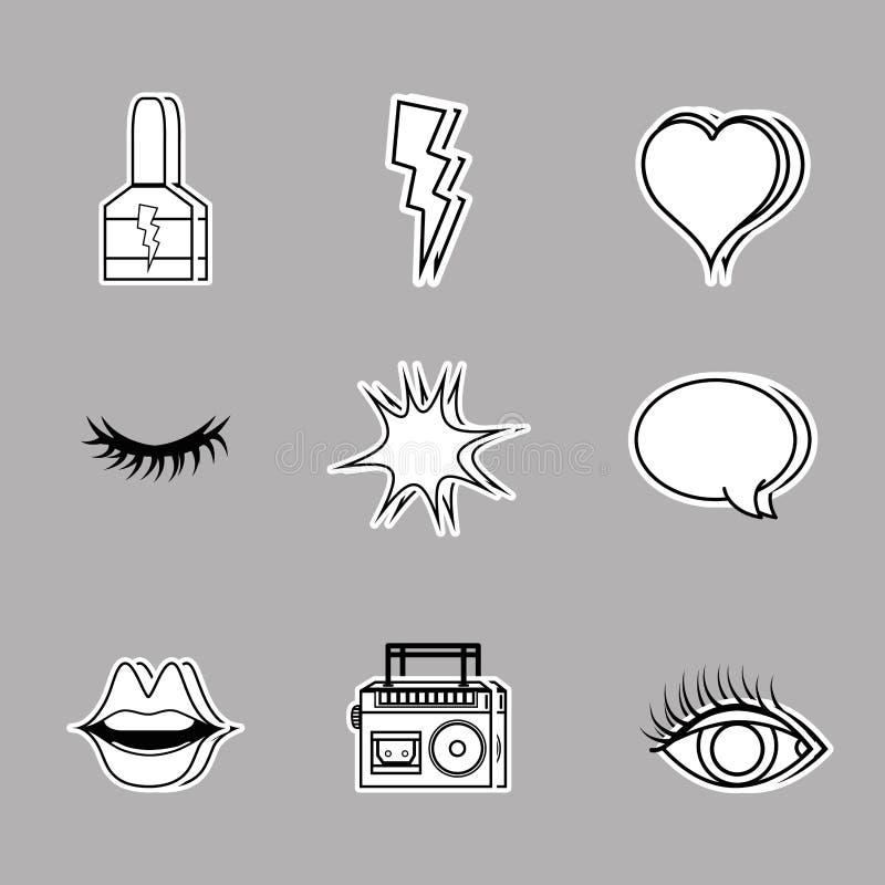 Set fashion pop art patches design. Vector illustration vector illustration