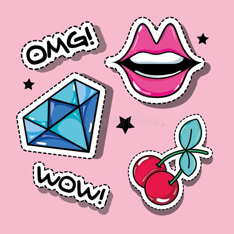 Set fashion pop art patches design. Vector illustration royalty free illustration