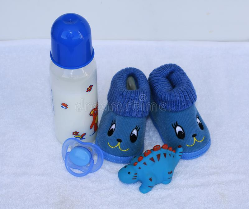 Set of fashion trendy clothes and kids stuff for little baby boy stock photo