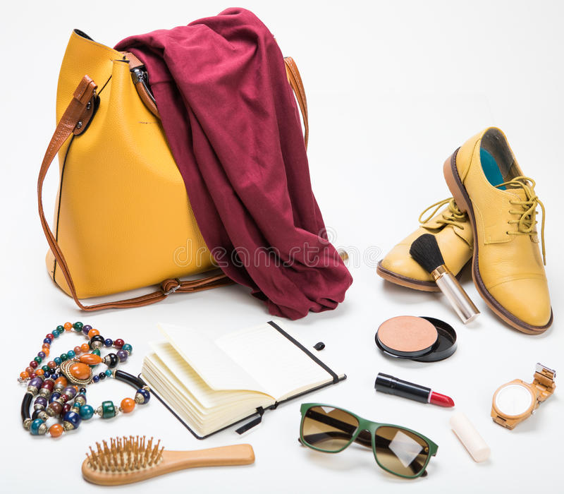 A set of fashion women accessories stock photo