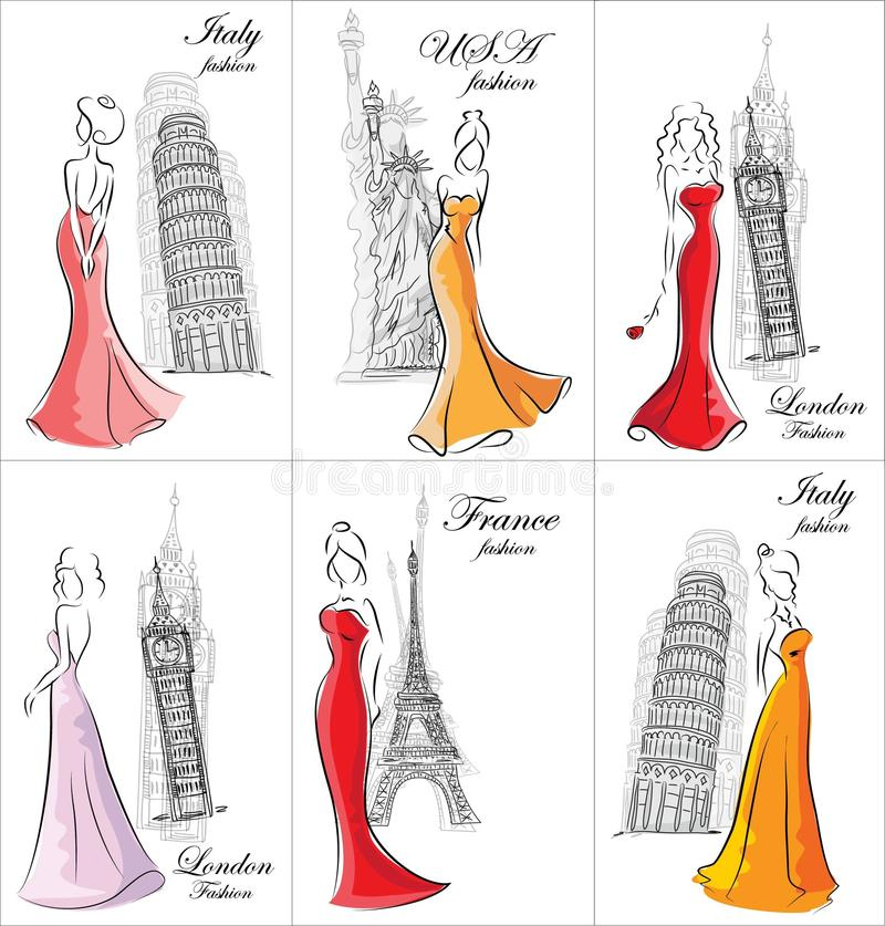 Set of fashion women,vector vector illustration