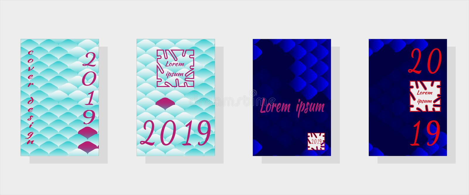 Set of fashionable holiday design templates for covers for the New Year 2019.Oriental pattern,multicolored fish scales of carp Koi vector illustration
