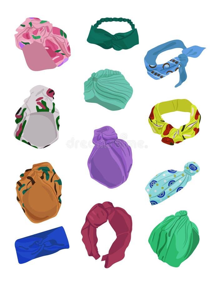 Set of fashionable women`s turbans stock illustration